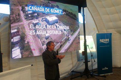 El Ministro Ing Jose Leon Garibay presenta la ampliación de la planta potabilizadora de agua y dejan habilitado el Centro de Atención de Usuarios . Ubicado en Bv. Centenario 217.